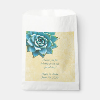 Succulent Wedding Watercolor Yellow Lace Favour Bag