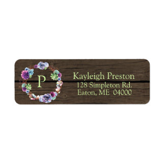 Succulent Wreath on Faux Wood with Initial Return Address Label