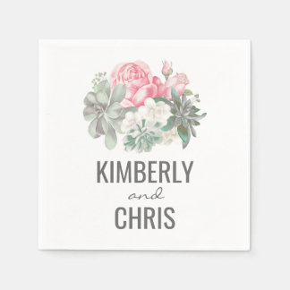 Succulents and Pink Floral Bouquet Wedding Paper Napkin