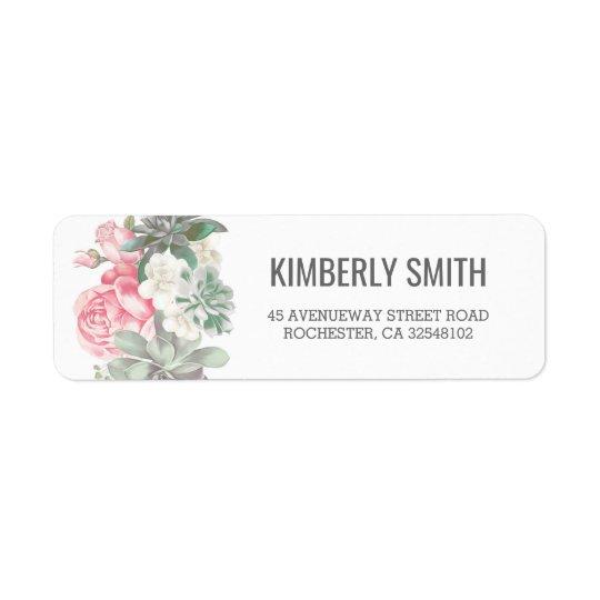 Succulents and Pink Florals Wedding Return Address Label