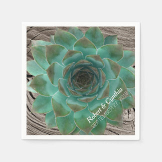Succulents and Wood Paper Wedding Napkins Disposable Napkin