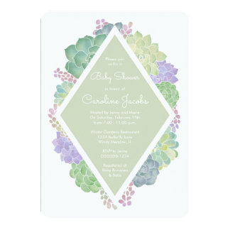 Succulents Baby Shower Green Invitation