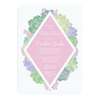 Succulents Baby Shower Pink Invitation