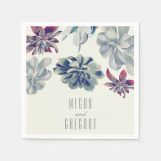 Succulents Floral Garden Wedding Paper Napkin