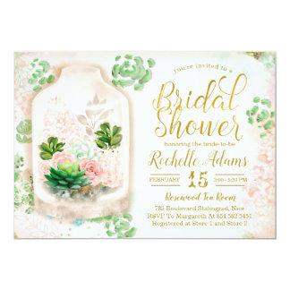 Succulents Floral Terrarium Botanic Bridal Shower Card