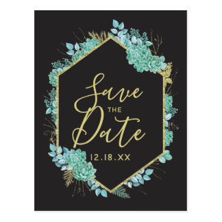 Succulents Gold Frame Any Color Save the Date Postcard