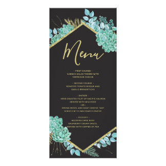 Succulents Gold Frame Any Color Wedding Menu