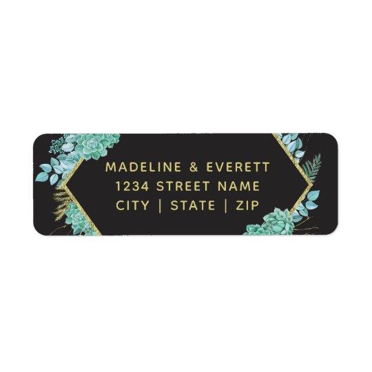 Succulents Gold Frame Wedding Return Address Return Address Label