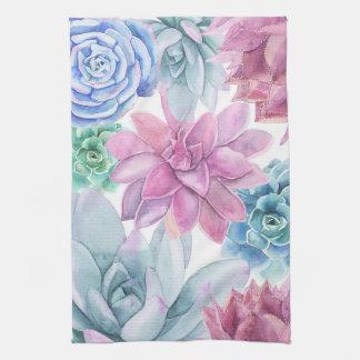Succulents Modern Chic Fiesta Garden Floral White Tea Towel