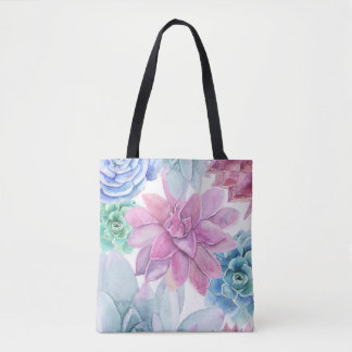 Succulents Modern Chic Fiesta Garden Floral White Tote Bag