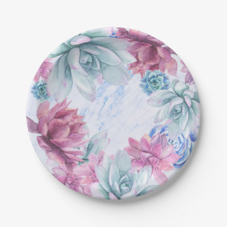 Succulents Modern Chic Marble Bridal Shower Fiesta Paper Plate