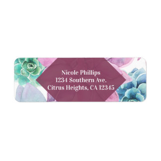 Succulents Modern Chic Marble Bridal Shower Fiesta Return Address Label