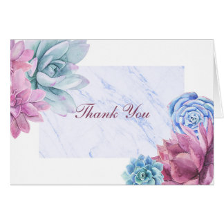 Succulents Modern Marble Floral Chic Thank You Card