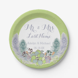 Succulents Peacock Feathers Wedding Paper Plates 7 Inch Paper Plate