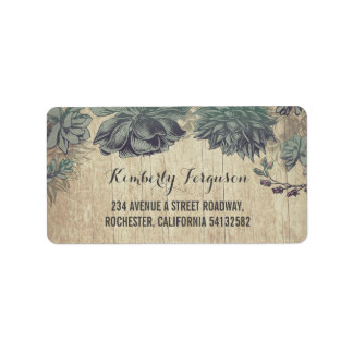 Succulents Rustic Vintage Wedding Address Label