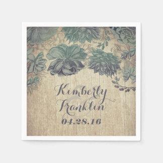 succulents rustic wedding disposable serviette