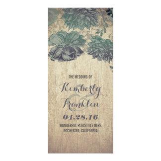 Succulents Rustic Wood Wedding Programs Rack Card