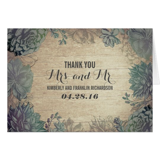 Succulents Rustic Wood Wedding Thank You Card