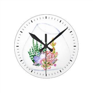 Succulents Terrarium Acrylic Wall Clock