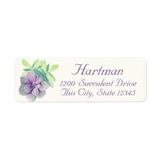 Succulents Watercolor Address Return Address Label