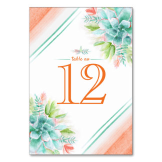 Succulents watercolor green orange table numbers