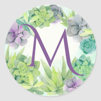 Succulents Watercolor Monogram Classic Round Sticker