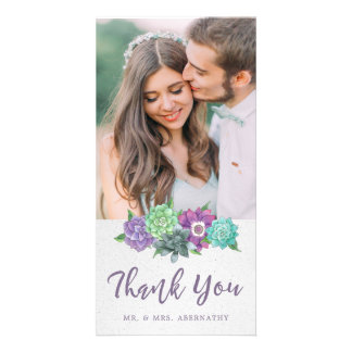 Succulents Wedding Thank You Card | Lavender Photo Card Template