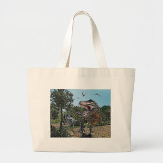 Suchomimus and Tyrannosaurus Meet Large Tote Bag