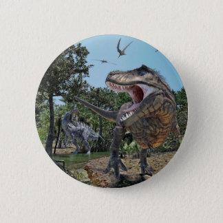 Suchomimus and Tyrannosaurus Rex Confrontation 6 Cm Round Badge