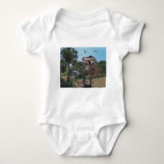 Suchomimus and Tyrannosaurus Rex Confrontation Baby Bodysuit