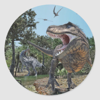 Suchomimus and Tyrannosaurus Rex Confrontation Classic Round Sticker