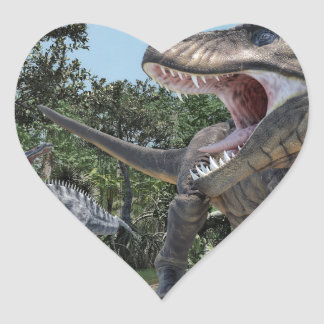 Suchomimus and Tyrannosaurus Rex Confrontation Heart Sticker
