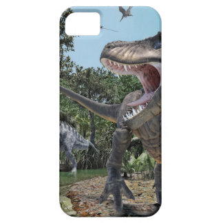 Suchomimus and Tyrannosaurus Rex Confrontation iPhone 5 Case