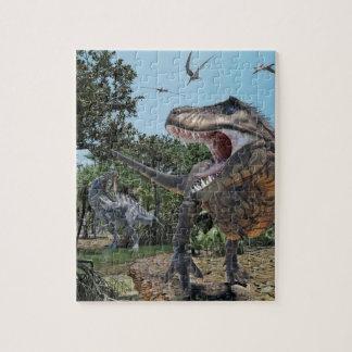 Suchomimus and Tyrannosaurus Rex Confrontation Jigsaw Puzzle