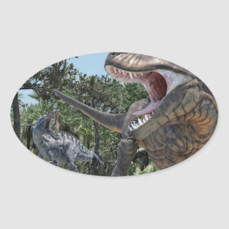 Suchomimus and Tyrannosaurus Rex Confrontation Oval Sticker