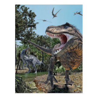 Suchomimus and Tyrannosaurus Rex Confrontation Postcard