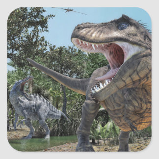 Suchomimus and Tyrannosaurus Rex Confrontation Square Sticker