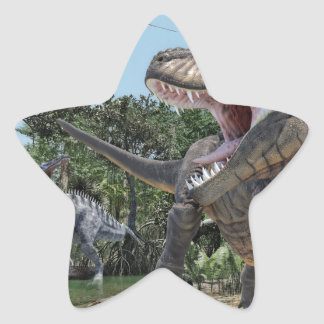Suchomimus and Tyrannosaurus Rex Confrontation Star Sticker