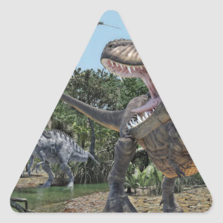 Suchomimus and Tyrannosaurus Rex Confrontation Triangle Sticker