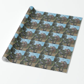 Suchomimus and Tyrannosaurus Rex Confrontation Wrapping Paper