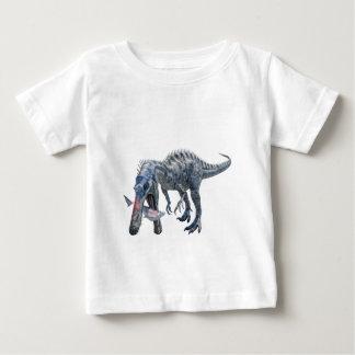 Suchomimus Dinosaur Eating a Shark Baby T-Shirt