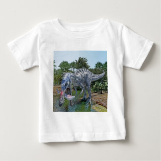 Suchomimus Dinosaur Eating a Shark in a Swamp Baby T-Shirt