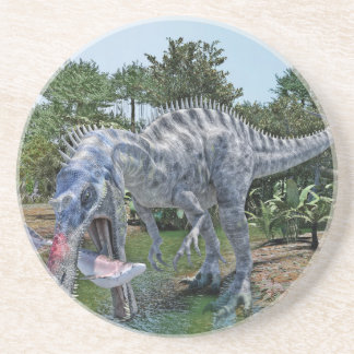 Suchomimus Dinosaur Eating a Shark in a Swamp Drink Coaster