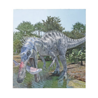 Suchomimus Dinosaur Eating a Shark in a Swamp Notepad