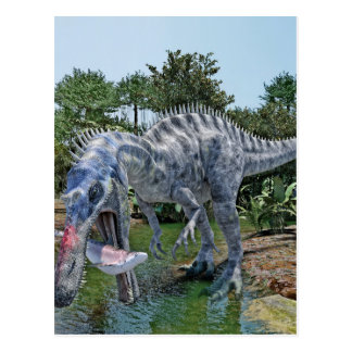 Suchomimus Dinosaur Eating a Shark in a Swamp Postcard