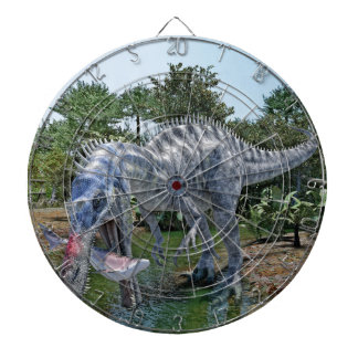 Suchomimus Dinosaur Eating a Shark in the Jungle Dartboard