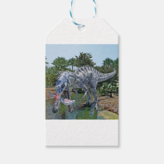 Suchomimus Dinosaur Eating a Shark in the Jungle Gift Tags