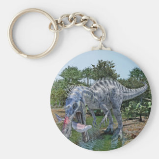 Suchomimus Dinosaur Eating a Shark in the Jungle Key Ring