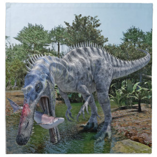 Suchomimus Dinosaur Eating a Shark in the Jungle Napkin