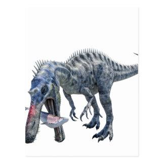 Suchomimus Dinosaur Eating a Shark Postcard